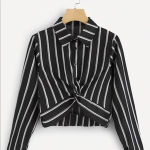 Black and white stripped cropped knot blouse